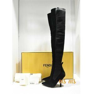 27d70683cee6 NIB FENDI Velvet stretch Knit over the knee boots